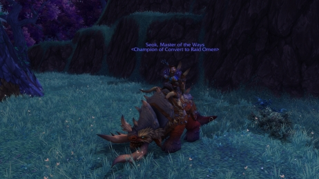 Seok on my favourite ground mount, the Bloodhoof Bull