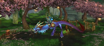 Xuralyn on her favourite mount, Etoile the Azure Cloud Serpent