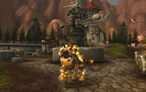 Michael on his shiny new paladin class mount!