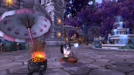 Cinder being silly in her garrison keeping warm by the Eternal Kiln, with her Picnic Basket in her beach outfit from the Hozen Beach Ball